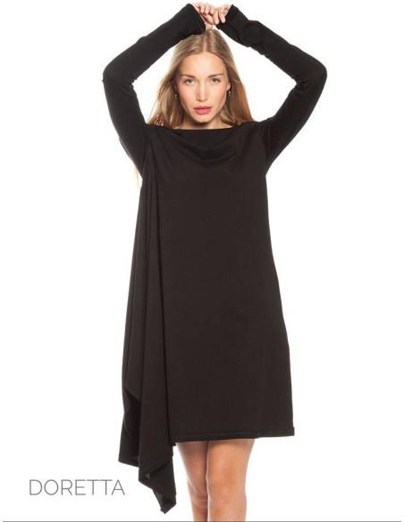 WOMEN'S DRESS BLACK WIDE TILL KNEE
