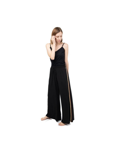 BLACK STRIPED WIDE PANTS