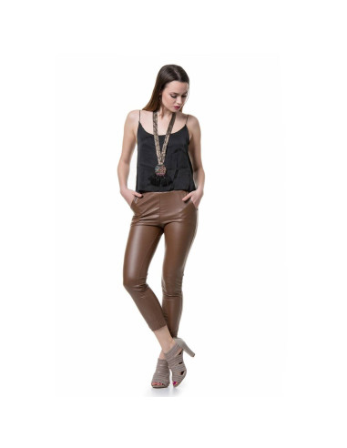 CAMEL FAUX LEATHER SLIM PANTS