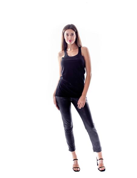 WOMEN'S BLACK FAUX LEATHER SLIM PANTS
