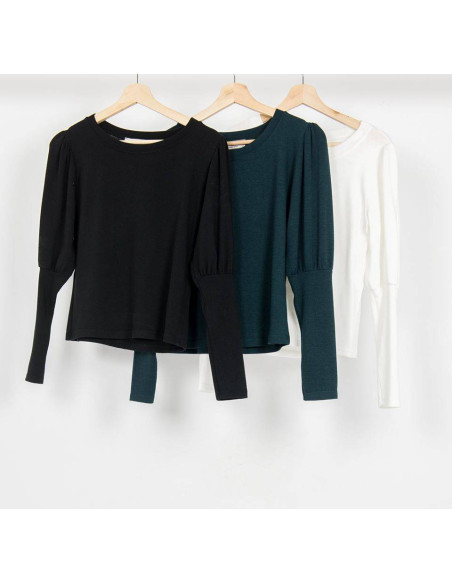 WOMEN'S KNITTED BLOUSE WITH BUBBLE SLEEVE
