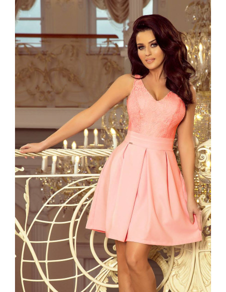 Evening Dress Numoco with lace neckline and pleats pastel Pink