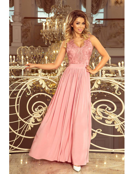 Evening long sleeveless Dress Numoco with embroidered cleavage