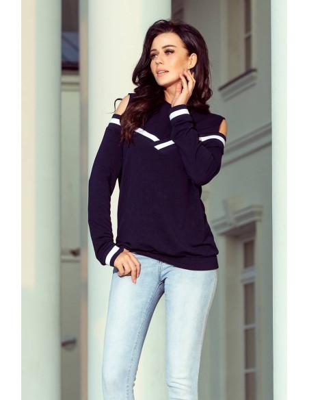 Women's Sweatshirt Numoco with bare shoulders Navy Blue