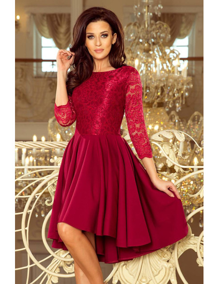 Evening asymmetrical Dress Numoco with lace burgundy