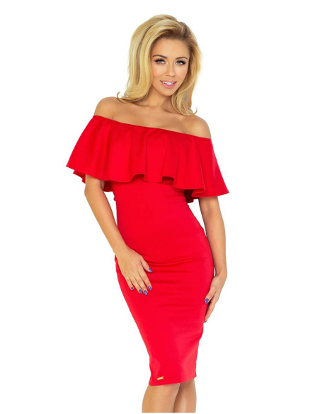 Women's Dress Numoco with frill red