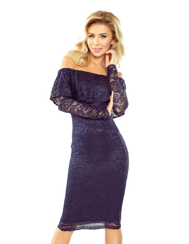 Evening MM Dress with frill lace Navy Blue
