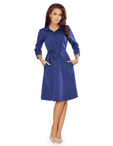 Woman's Flared Shirt Dress Classic Blue
