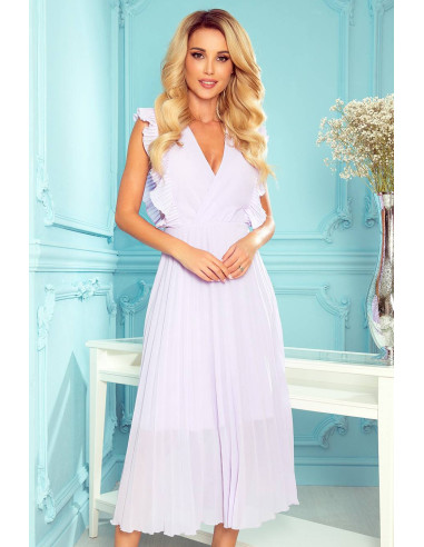 Woman's Pleated Dress with frills and neckline Pink